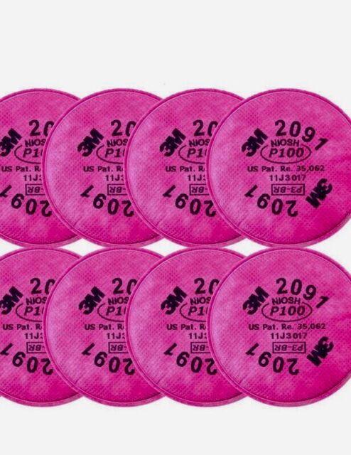(4 Pairs)!! 3M 2091 NIOSH 99,97% Particulate Resp. Filter with Organic Vapor.!