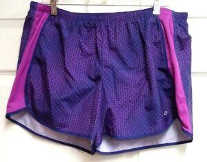 2-Pair-C9-Champion-Women-039-s-Athletic-Running-Shorts-Purple-Geometric-amp-Green-Sz-L