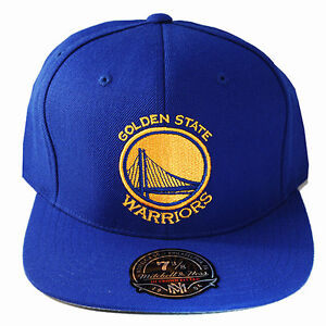 953b2c2344e54 Mitchell   Ness NBA Golden State Warriors Blue Fitted Hat Classic ...
