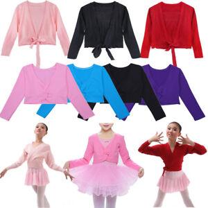 Girls Kids Ballerina Ballet Dance Knit Cardigan Tops Wrap Sweaters Shrug Shawl