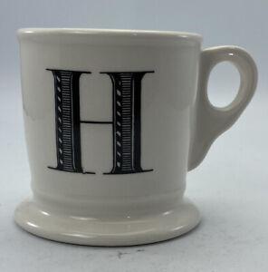 "Anthropologie Monogram Mug ""H"" Initial Letter Coffee Cup Shaving White Black"