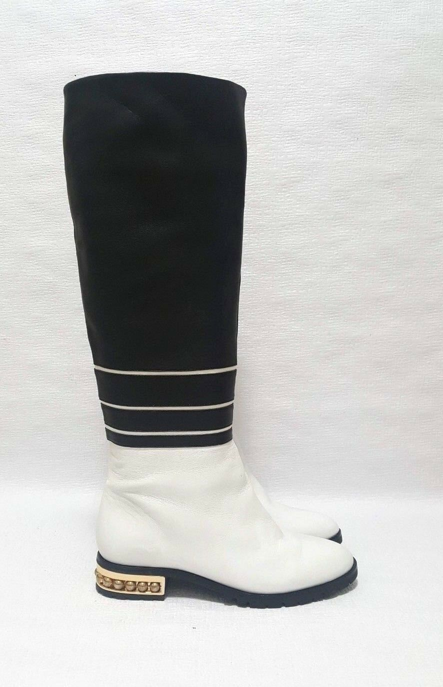 NEW RARE UNIQUE KARL LAGERFELD Black White Lambskin Leather  Boots SAMPLE Size 6