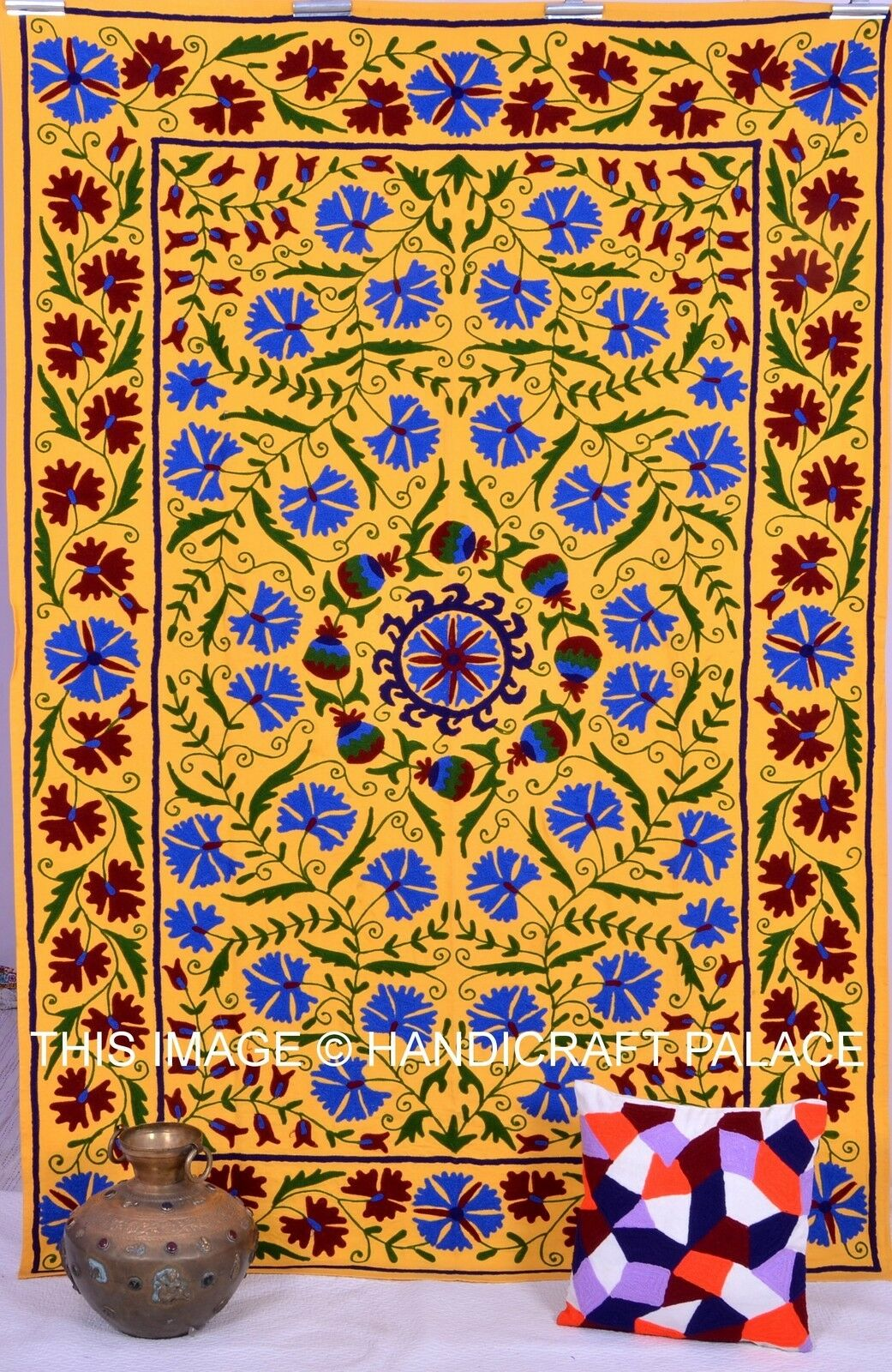 Uzbek Embroiderot suzani Bett StKunstseite Bettspread Cotton Bett Sheet Single Table Startseite