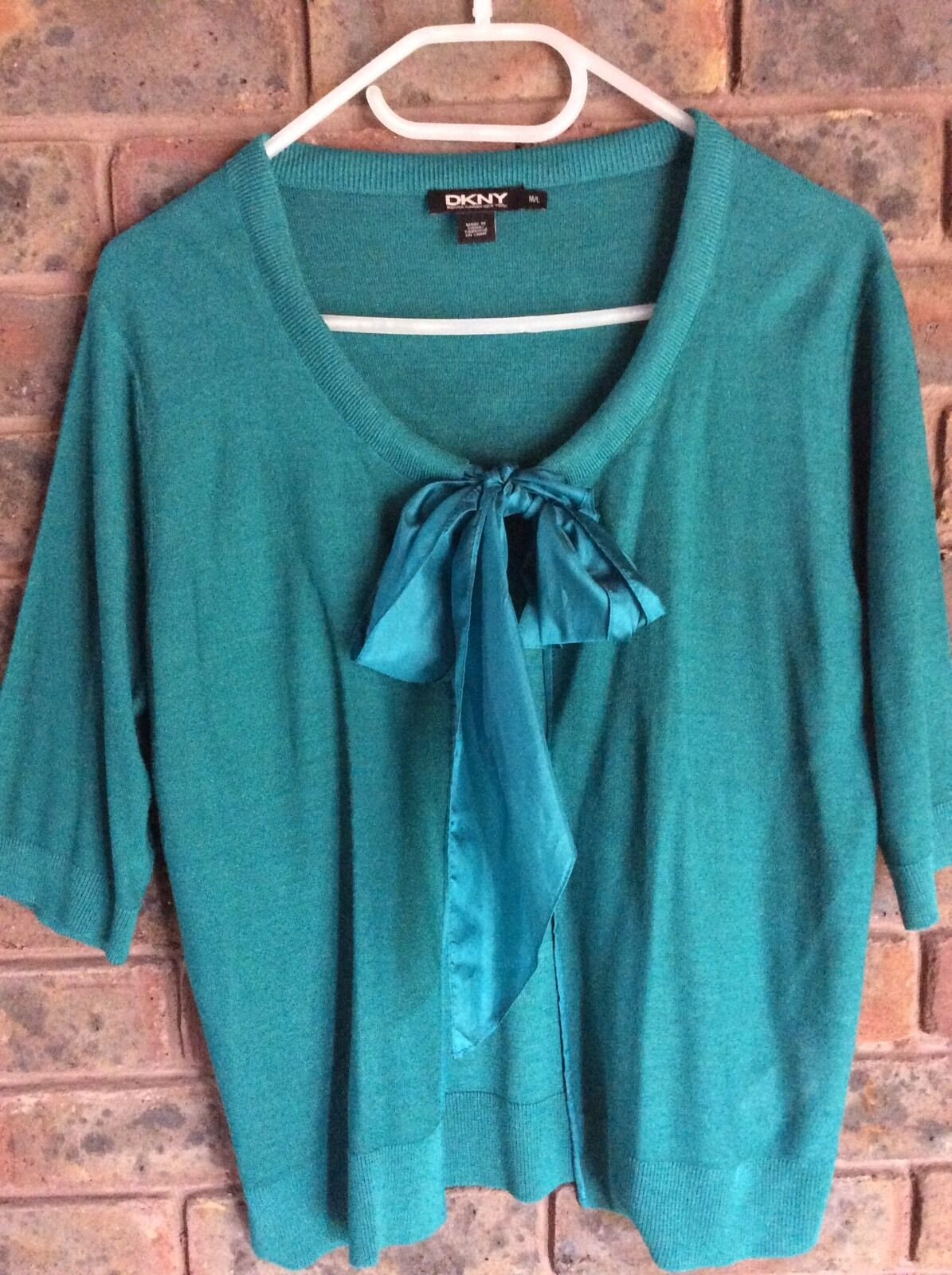 NWOT DKNY Silk Tie Front 1 2 Sleeve Cardigan_ Cardigan_ Cardigan_ green L 98e909