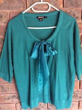 NWOT DKNY Silk Tie Front Cardigan_ green L
