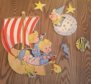 Vintage-1950s-Nursery-Baby-Wall-Decor-Dolly-Toy-Co-Retro-Mid-Century-Ship-Moon