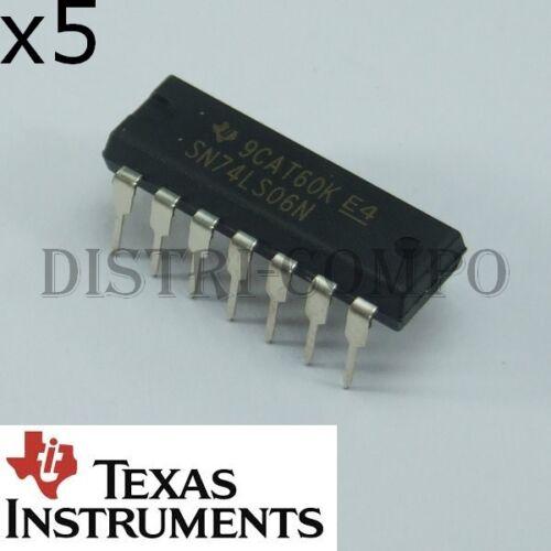 74LS06 = SN74LS06N Hex Inverter Buffers and Drivers DIP-14 Texas Rohs lot de 5