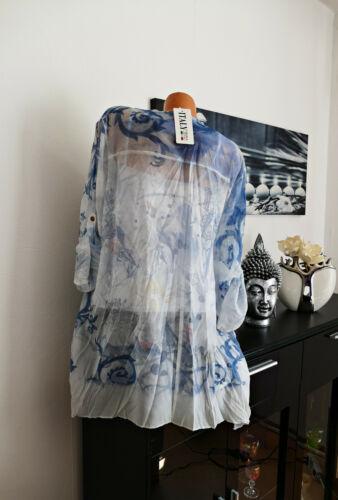 ♥ ITALY 2 tlg Bluse Tunika+Top Fantasy Blumen schwarz blau braun 46 48 50 NEU ♥