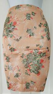 Damen-Noa-Noa-pfirsich-Gruen-Metallic-Floral-Jacquard-knielang-ausgekleidet-Rock-XL