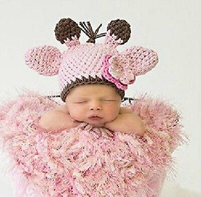 Newborn Hand Crochet Pink Giraffe Hat & flower Photo Props Handmade L127