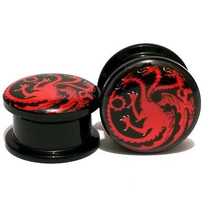 Pair Acrylic Ear Plugs Screw Fit Gauges Flesh Tunnels Earrings - Fire and Blood