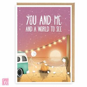 Cute Love Carte Deux Objectifs Aventure Vanlife Voyage Couple Carte D Anniversaire Ebay