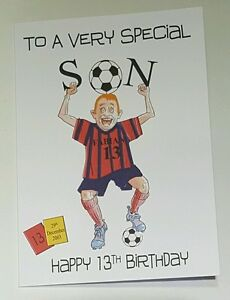 Image Is Loading Personalised 13th Birthday Card Son Godson Grandson Football