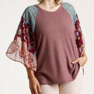 New-Umgee-Top-2X-Waffle-Knit-Floral-Paisley-Ruffle-Sleeve-Boho-Peasant-Plus-Size