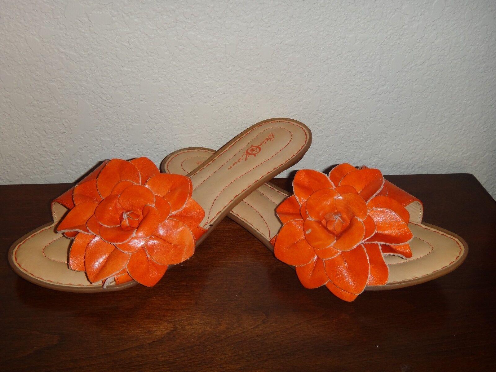 BORN & CROWN Albright Womens Slides Flat Sandal orange Real Leather Flower Sz 11