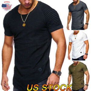 Men-039-s-Tee-Casual-Tops-Short-Sleeve-Slim-Fit-Muscle-O-Neck-Shoulder-Drape-T-Shirt