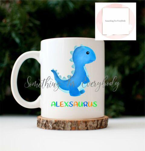 Personalised Blue Dinosaur Cup Ceramic Novelty Mug Birthday Gift Hot Chocolate