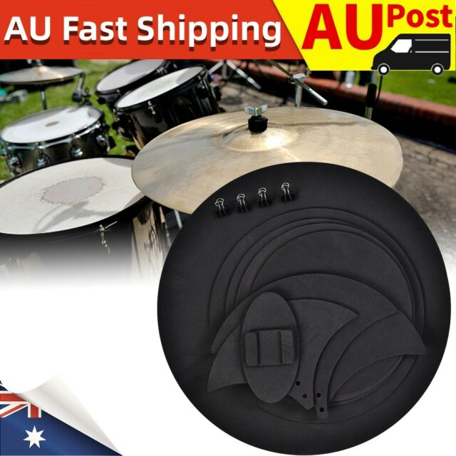 10pcs Bass Snare Drums Mute Silencer Drumming Practice Pad Set Cymbal Soundoff f