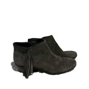 8065e2c30 Sam Edelman Paige Fringed Womens Sz 7.5 Dark Grey Suede Ankle Boots ...