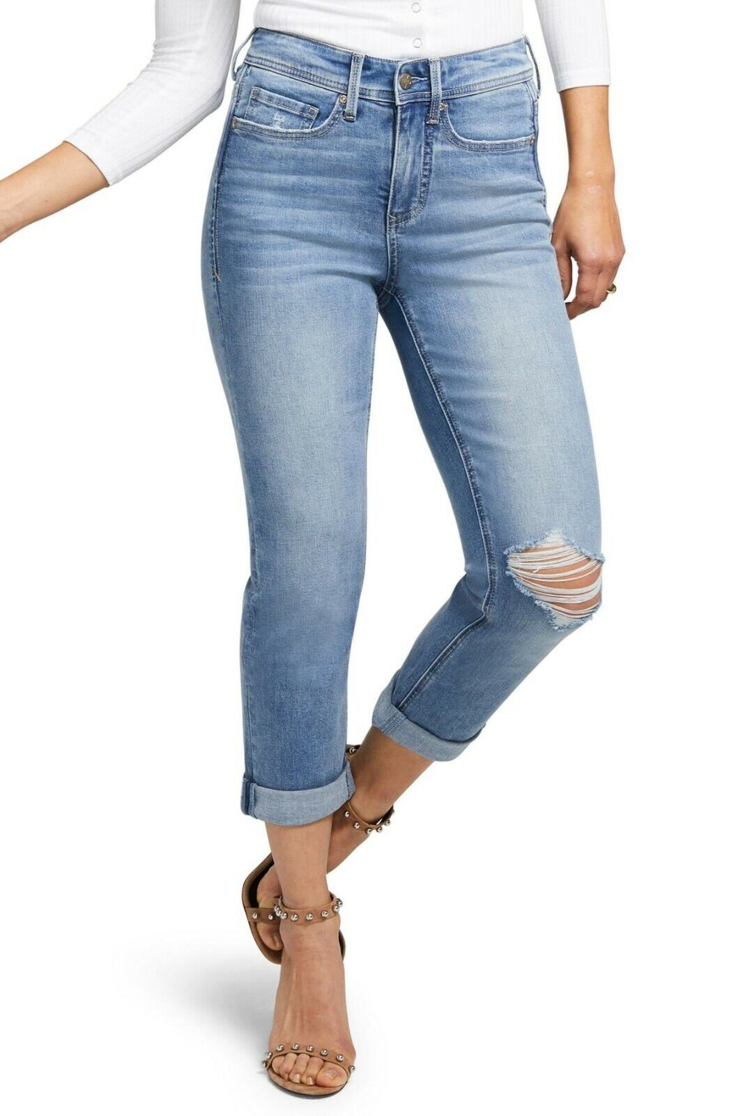 NYDJ Spartan bluee CURVES 360 Shape Slim Straight Distressed Crop Denim Jeans 24W