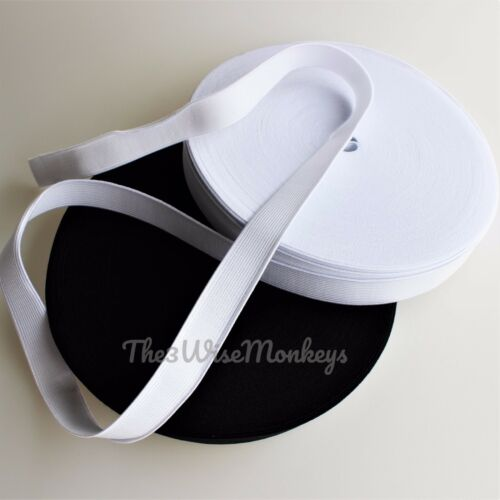 Premium grade Woven Black//White 25mm 1 inch FLAT WOVEN ELASTIC 25mm