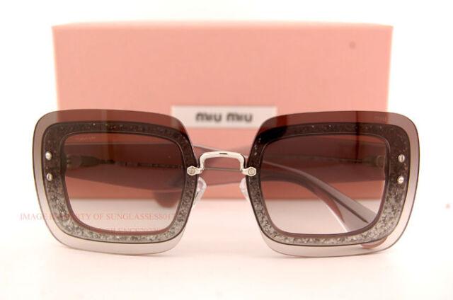 3218fa0cc2d9 MIU MIU Reveal Sunglasses Mu01rs Transparent Grey Glitter Mirrored ...