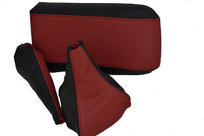 FITS MITSUBISHI GTO GAITERS SET+ARMREST COVER BLACK D RED