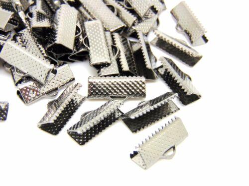 50 piezas cinta de color Negro-Gris Plomo final Broches hallazgos 16mm X 6mm Z164