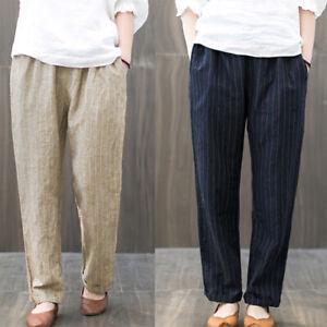 ZANZEA-8-24-Women-Elastic-Waist-Stipe-Pants-Office-Work-OL-Pinstripe-Trousers