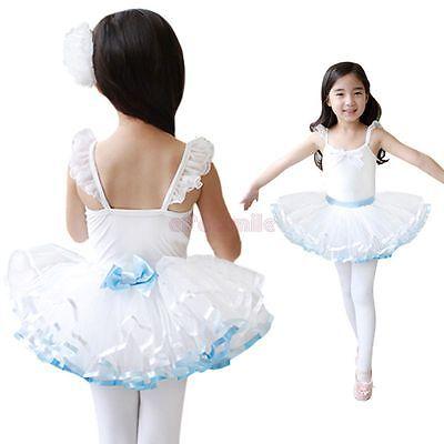 Girls Kids Dancewear Ballet Dance Dress Tutu Leotard Tulle Party Costume SZ 4-7