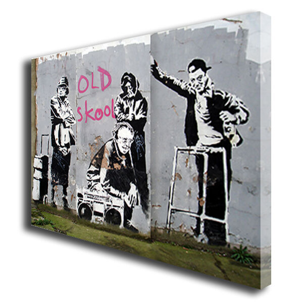 BANKSY OLD SKOOL SCHOOL CANVAS WALL ART BOX PRINT PICTURE SMALL/MEDIUM/LARGE