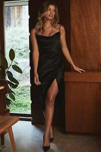 house of cb 'reva' black satin balcony corset dress xs 6