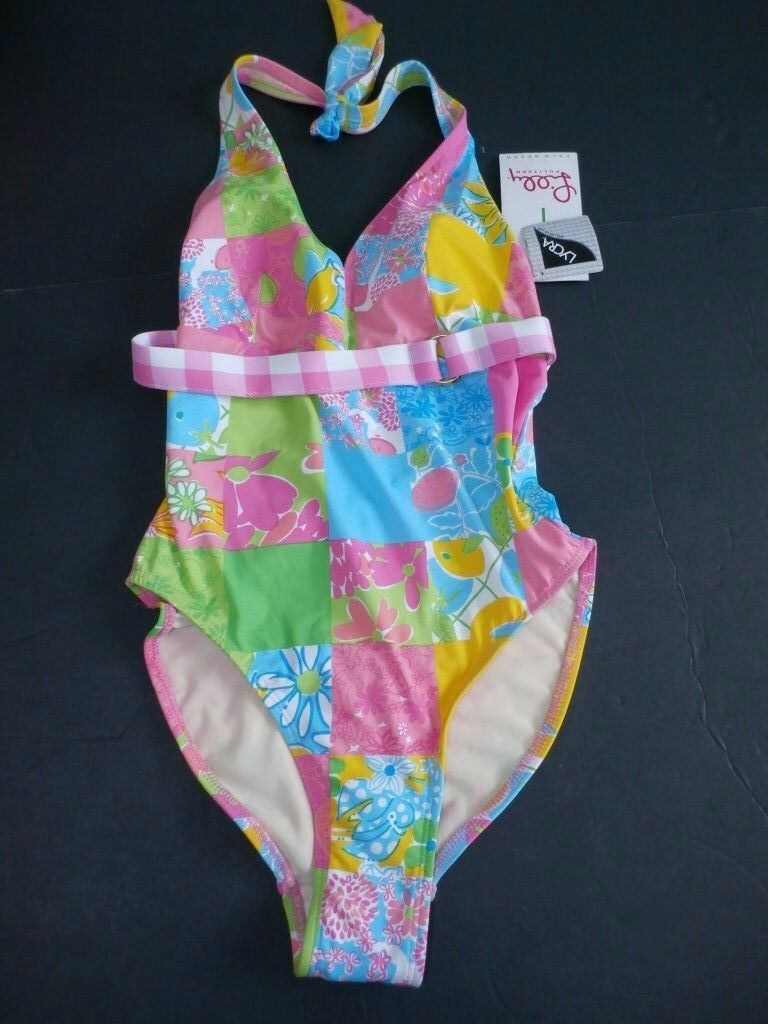 Lilly Pulitzer Women SZ 0 Swimsuit Yolanda Suit Rainbow Patch Halter Pink Floral