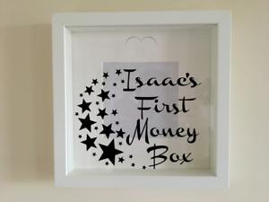 IKEA RIBBA Box Frame Personalised Vinyl Wall Art Quote First money box stars