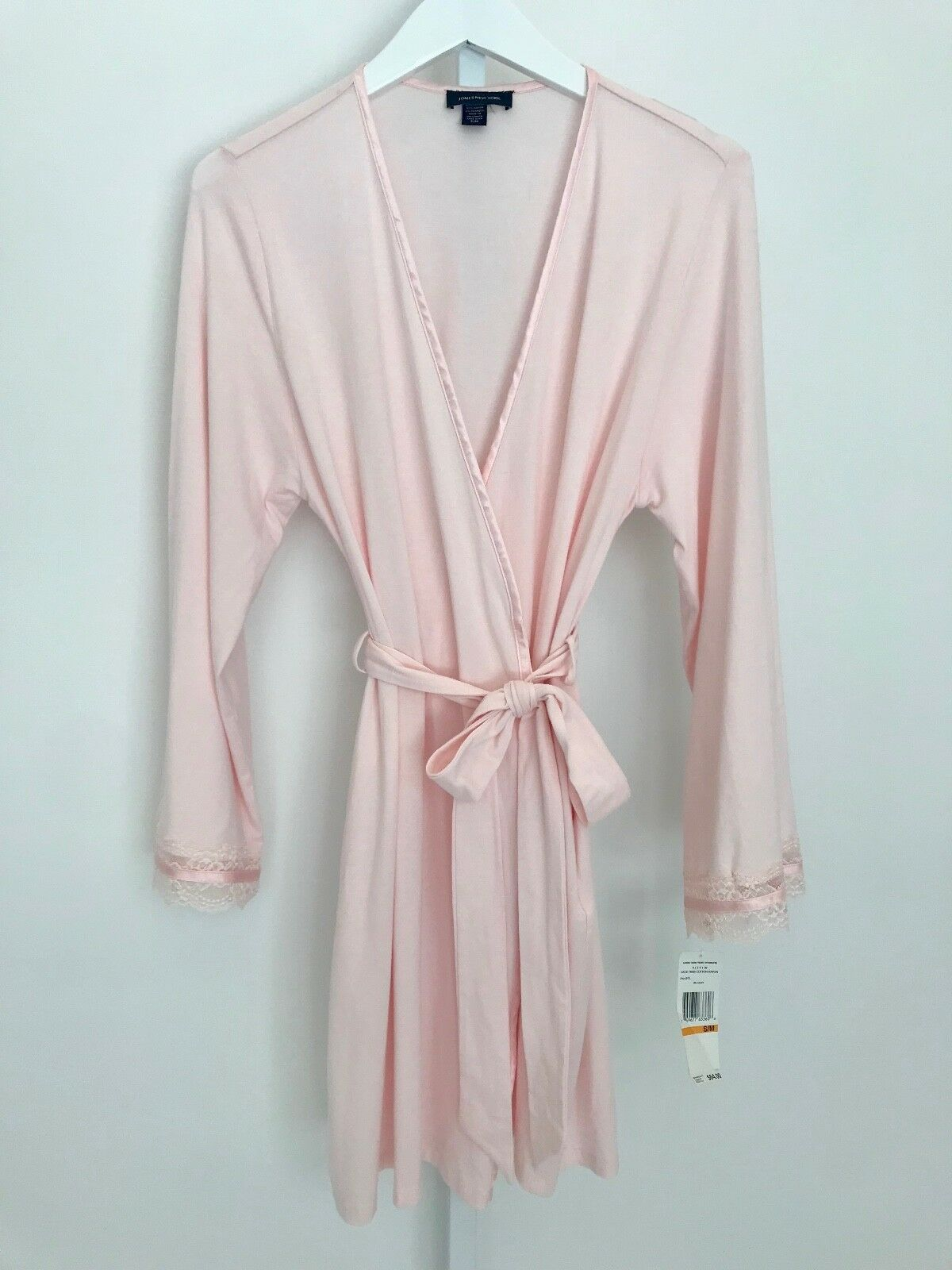 JONES NEW YORK PALE PINK LACE TRIM ROBE COTTON BLEND INTIMATES SIZE S M NWTS