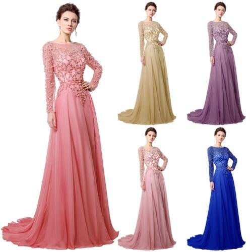 Long Sleeve Chiffon Mother of the Bride Dress Formal Evening Party Prom Gown 8