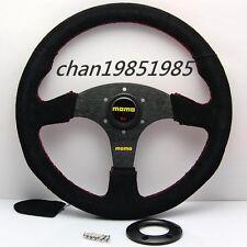 "OEM 350mm MOMO Suede Leather Flat Racing Steering Wheel 14"" Black (Red Stitch)"