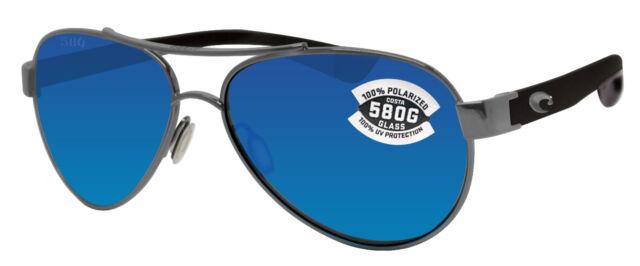 Costa Del Mar Loreto Gunmetal Black Frame Blue Mirror 580 Glass Polarized Lens