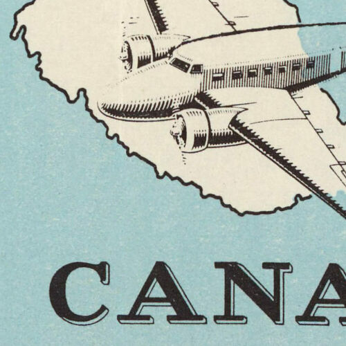 Art Print Poster 24x36 Color Canadian MAP of Canada Air Mail Routes Circa 1939