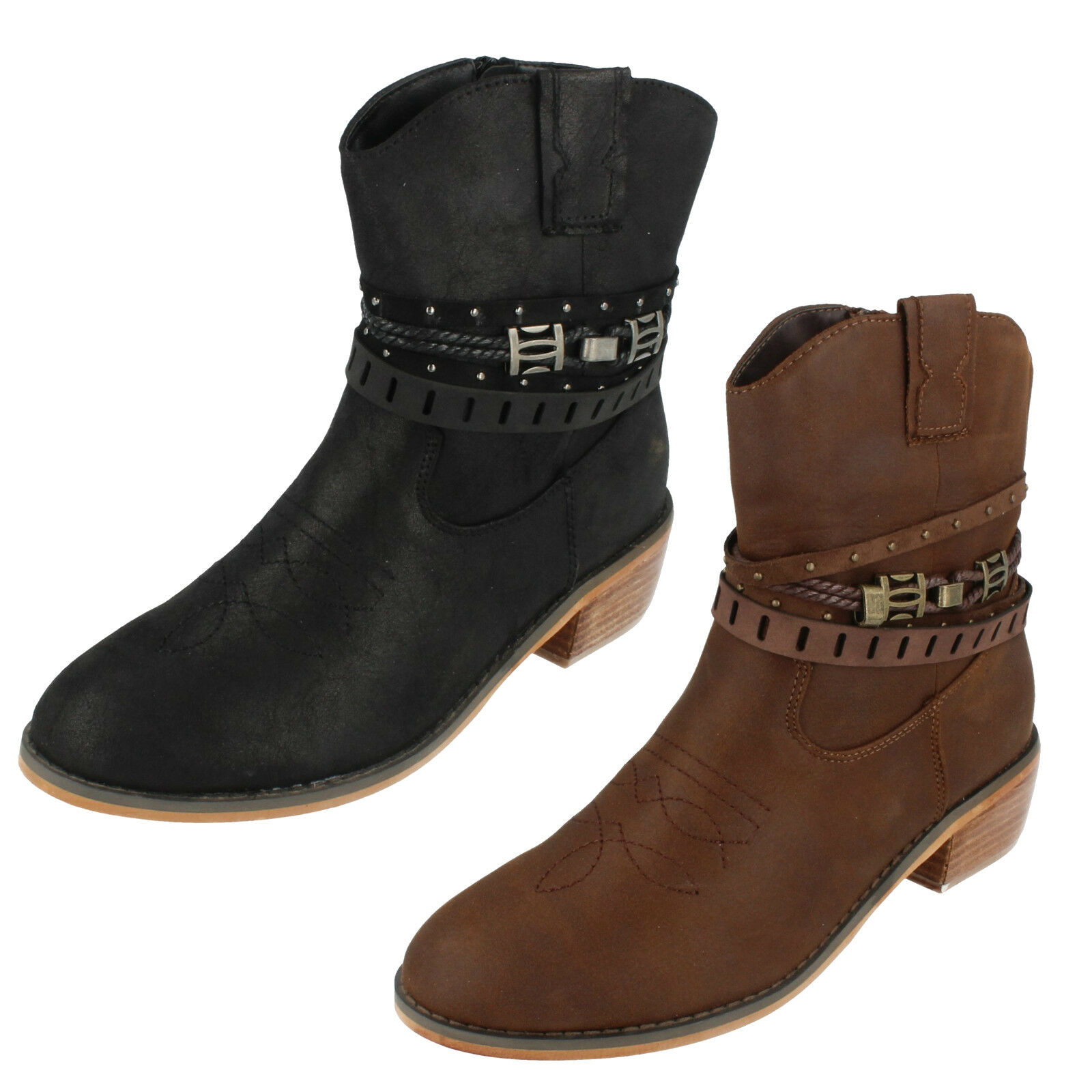 Ladies F5R0950 Cowboy Style Ankle Boots By Down To Earth
