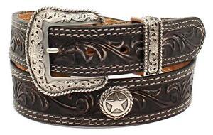 "Nocona Western Mens Belt Leather ""San Antonio"" Made in USA Black N2300601"
