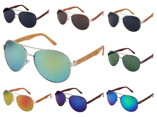 Occhiali pilota STAFFA LEGNO-look effetto legno Occhiali Da Sole Porno Occhiali Specchio Occhiali