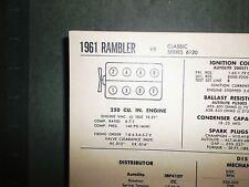 1961 Rambler Series 6120 Classic Models 250 V8 SUN Tune Up Chart Sheet A1 Shape!