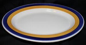 BUFFALO POTTERY PLATE PLATTER RESTAURANT WARE BLUE YELLOW WHITE BUF17* RARE