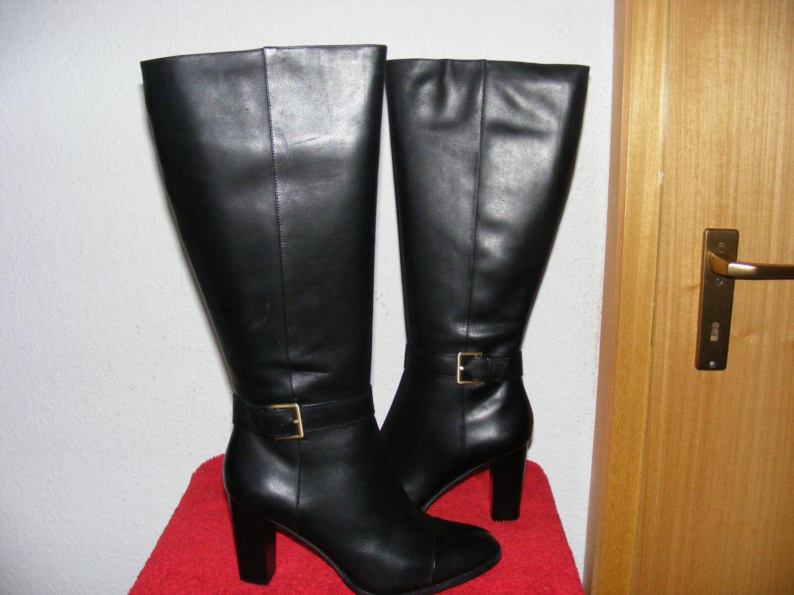 CLARKS schwarze Stiefel Gr 40 NEU kniehoch elegant schwarz edel NEU Absatz 8 cm