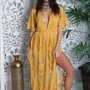 Details About Honey Punch Yellow Embroidered Lace Romper Maxi Dress Style Id5009c Ye