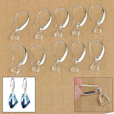 50-100PCS DIY Making Jewelry Findings Silver Dangle Pinch Bail Ear Wire Hook
