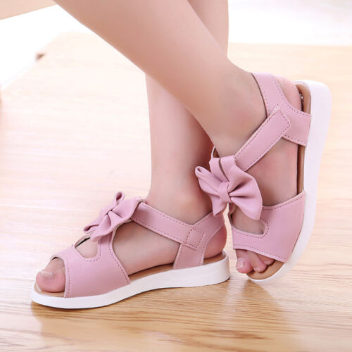 Summer Kids Children Toddler Baby Girls Beach Sandals Bow Leather Pricness Shoes