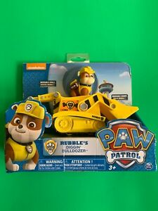 Paw-Patrol-Rubble-039-s-Diggin-039-Bulldozer-Figure-and-Vehicle-Brand-New-Box-Wear