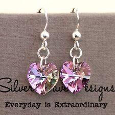 En Argent Sterling 925 Boucles D'oreilles Pendantes w éléments cristal Swarovski